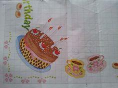 Tovaglia happy birthday punto croce 4