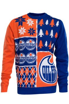 Edmonton Oilers Ugly Christmas Sweater NHL Busy Block Design 230acf701