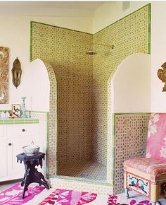 Moroccan effect. Los Angeles based designer Kathryn M. Ireland's furniture, fabrics, wallpapers and decor