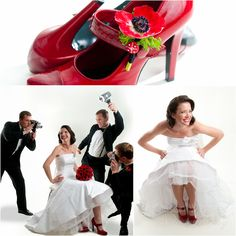Red wedding shoes, Hollywood glamour, retro wedding, retro wedding hair, Red anemine bouquet, black and red wedding, jason webster photography