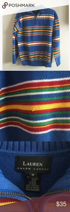 Rainbow Striped Half Zip So obsessed with this striped half zip! Giving me UNIF vibes! Super cozy and thick to keep you warm. One little snag on the front, pictured above. Size medium, listed UNIF for exposure UNIF Sweaters