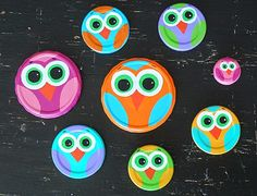 Fun recycled craft idea: Turn old jar lids into cute owls! Add magnets to the back and you have a fun way to dress up your fridge.