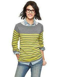 GAP Eversoft envelope-neck block-stripe sweater
