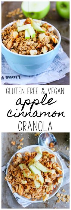 This Gluten Free & Vegan Apple Cinnamon Granola recipe makes a perfect breakfast or snack!
