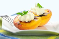 Grilled peaches with crème fraiche and basil and other fruit and veggie recipes for the grill