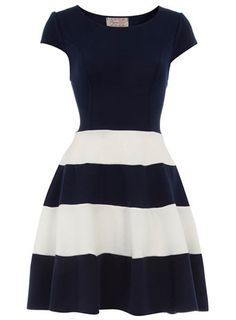 cute Navy and White Striped Skater Dress