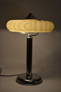 Antique ART DECO chrome and opaline glass lamp