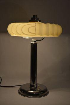 Antique ART DECO chrome and opaline glass lamp