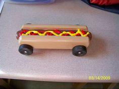 Hot Dog Pinewood Derby Car