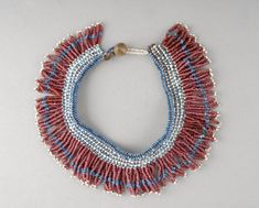 Xhosa fringed beadwork collar from the Mpondomise tribe. Collar Necklace, Beaded Necklace, Beaded Bracelets, Necklaces, Bead Jewelry, Ethnic Jewelry, Jewellery, African Design, African Art