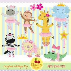 Tutu Cute Ballerina Animals digital clipart and matching digital papers -Personal and Commercial Use Jungle Animals, Animals For Kids, Doodle Characters, Digital Stamps, Digital Papers, Bullet Journal Art, Animal Drawings, Art Images, Doodles