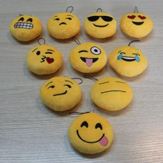 Cute Emoji Emoticon Soft Stuffed Plush Yellow Round Toy Keychain Keyring Doll #Unbranded