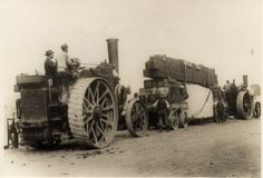Quarry owners 'Freemons of Pehrhyn' hauling a block of granite with their engines 'Epsilon' and 'Zeta'. The granite was to form the base for King Alfred's statue in Winchester, and was transported from Cornwall by train. A Wallis and Steevens engine was used to haul the load from Winchester station to the site of the statue which was cast at the Thames Ditton art foundry. Steam Tractor, Agriculture Tractor, Gas Turbine, Work Horses, Old Tractors, Steamers, Steam Engine, Wallis, Heavy Equipment