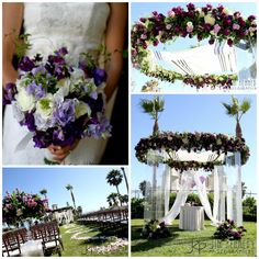 "Amazingly beautiful ""floating"" chuppah decorated in shades of purple."