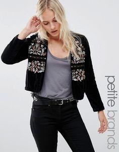 Vero Moda Petite | Vero Moda Petite Velvet Embroidered Jacket