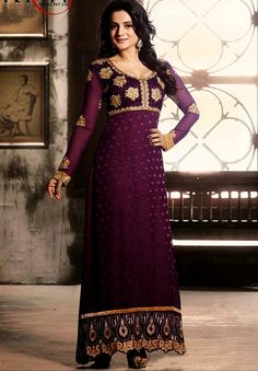 Ameesha in Purple Long Salwar Suit with chiffon dupatta having a embroidery yoke with designing bottom lace work, patch work, resham work.