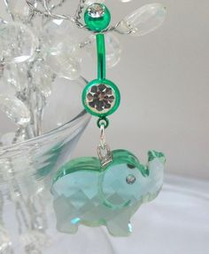 Belly ring, belly button ring with mint green crystal elephant 14ga | YOUniqueDZigns - Jewelry on ArtFire