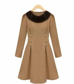 Graceful  Nail bead waist cloth  collars -Casual Dresses   Casual Dresses_BT (Beige,Black)