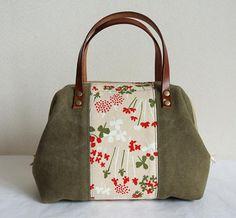 Mini Boston bag, canvas cotton patchwork - Flower in Khaki green