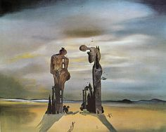 """Archeological Reminiscences of Millet's Angelus (1935) by Salvador Dali... """"To speak of these things and to try to understand their nature and, having understood it, to try slowly and humbly and constantly to express, to press out again, from the gross earth or what it brings forth, from sound and shape and colour which are the prison gates of our soul, an image of the beauty we have come to understand—that is art."""" -Joyce"""