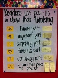 Teach reading comprehension with Post-it Notes: love this anchor chart would add check mark for something they agree with