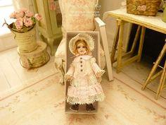 """Christine-Lea Frisoni, Atelier de Lea - 2"""" French antique doll, Romantic ecru lace and baby pink, Jumeau style,"""