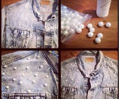 diy pearl shirt - 10 Easy DIY Craft Projects with Pearls - DIY Crafts Old Clothes, Clothes Crafts, Trendy Jeans, Trendy Outfits, Easy Diy Crafts, Diy Craft Projects, Pearl Crafts, Cute Diys, Diy Clothing