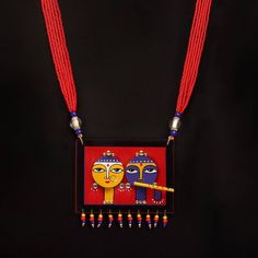 Buy online Necklaces - Temple necklace - razia kunj from Razia Kunj Terracotta Jewellery Designs, Terracota Jewellery, Textile Jewelry, Fabric Jewelry, Beaded Jewelry, Handmade Jewelry Designs, Temple Jewellery, Textiles, Jewelry Patterns