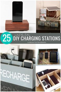 DIY Charging Station Ideas To Control The Clutter In Your Home, A Collection From Remodelaholic.com #dhargingstationdiys #diychargingstation Blogger Home, Cord Organization, Building Plans, Floating Nightstand, Clutter, Home Projects, Diy Crafts, Room, Cords