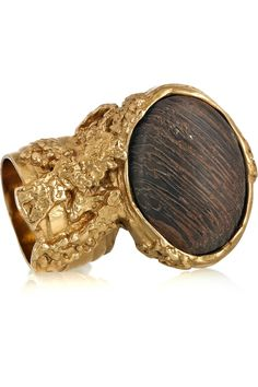 Yves Saint Laurent  Arty gold-plated wooden ring