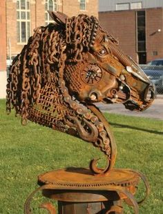 Horse sculpture made of junk metal