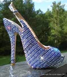 Blue Swarovski Crystal Bridal shoes, hand embellished....The Blue Diamond. $800.00, via Etsy.