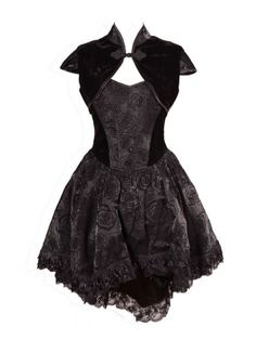 Black Sweetheart Rose Printed Pattern High-Low Gothic Party Dress w/ Cropped Jacket
