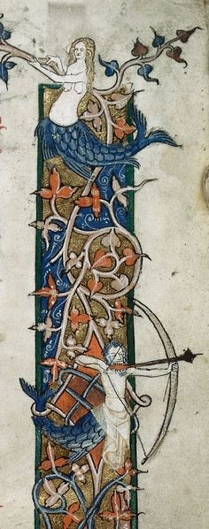 Border in a medieval manuscript with a mermaid and merman. British Library Royal MS 10 E IV Decretals of Gregory IX with glossa ordinaria (t...