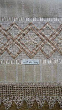 Resultado de imagem para bordado hardanger toalha banho
