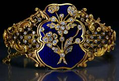 Antique Faberge enamel and diamond bracelet