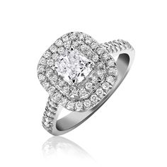 Diamond Ring Vintage Cushion Double Row Platinum   C W Sellors Fine Jewellery and Luxury Watches