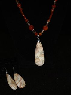 Crazy Lace Agate Necklace and Earring Set by KarinsForgottenTreas on Etsy