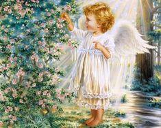 Angel 5 - decoration, flowers, angel, blossom, tree
