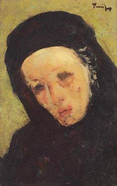 Mourner, by Nicolae Tonitza (Romanian: Post Impressionism, Art Database, Oeuvre D'art, Portrait, Les Oeuvres, Mona Lisa, Artist, Painting, Sadness