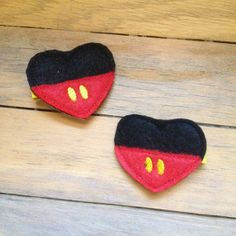 Mickey Mouse Inspired Heart Feltie Clippies