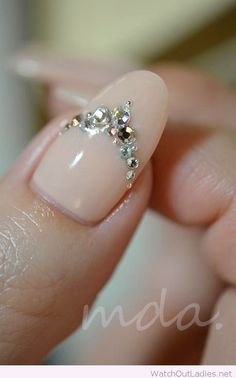 Nude with jewels nail art