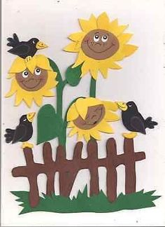 """Window picture cardboard """"Sunflowers on the fence"""" Easter Tree Decorations, School Decorations, Art For Kids, Crafts For Kids, Fox Crafts, Dollar Tree Decor, Giant Paper Flowers, Christmas Gifts For Kids, Art Plastique"""