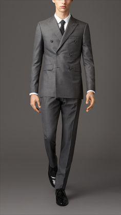 Costume à double boutonnage de coupe moderne en laine et soie | Burberry