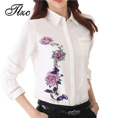 TLZC Vintage 2017 Office Lady Shirts Flower Pattern Fashion Women Blouse Size S-3XL Turn Down Collar Sweet Lady White Shirts
