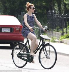 """""""I like to ride my bicycle: Actress Rachel McAdams looks the epitome of vintage chic as she rides her bike around Toronto in a cute frock"""""""