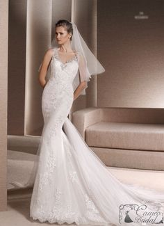 Mermaid Wedding Dresses : Picture Description Mermaid dress in tulle with beige underlay decorated with guipure, thread embroidery and gemstone embroidery La Sposa Wedding Dresses, 2 In 1 Wedding Dress, Wedding Dresses Plus Size, Wedding Dress Shopping, Bridal Dresses, Prom Dresses Long Pink, Mermaid Dresses, Marie, Beaded Lace