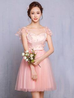 b3ded067fa503 ブライズメイド ドレス 通販 Retica レティカ|ピンク ウエストリボン袖レースふんわりシフォンミニドレス(ピンク)