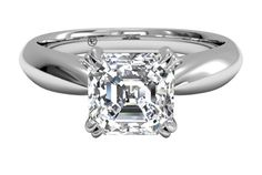 Asscher Cut Diamond Tulip Airline Solitaire Engagement Ring in Platinum, by Ritani