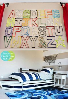 Modern-Toddler-Room Love the boat!  Easy DIY wall letters   #projectnursery #franklinandben #nursery